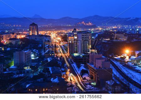 Evening In The City Of Nakhodka Primorsky Krai, Night View Of The City, Winter, Evening Lights.