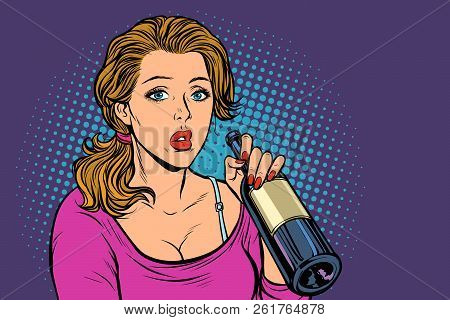Woman Drinking Wine From A Bottle. Loneliness And Sadness. Pop Art Retro Vector Illustration Vintage