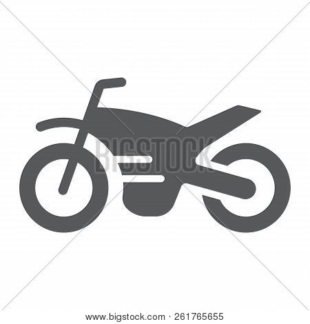 Motorcycle Glyph Icon, Vehicle And Cycle, Motorbike Sign, Vector Graphics, A Solid Pattern On A Whit