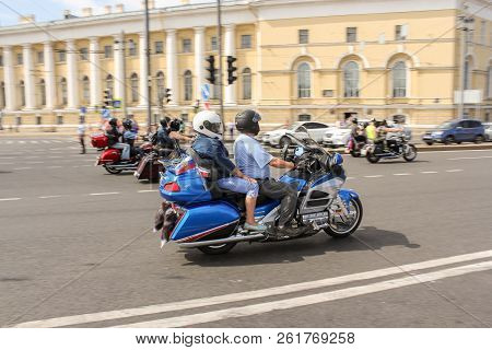 St. Petersburg, Russia - 4 August, Motorcyclists Participating In The Parade, 4 August, 2018. Parade