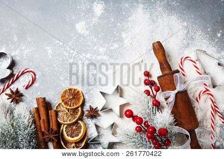 Bakery Background For Cooking Christmas Baking With Rolling Pin, Scattered Flour And Spices Decorate