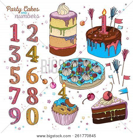 Hand drawn vector cake set with cupcake, piece of chocolate cake, three big cakes and number shape candles. Isolated and fully editable. Cake flags, cocktail cherries and cocktail tassel toppers. poster
