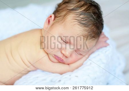 Sweet And Innocent Infant Baby Sleeping On A Soft White Blanket. Newborn Photo Session.