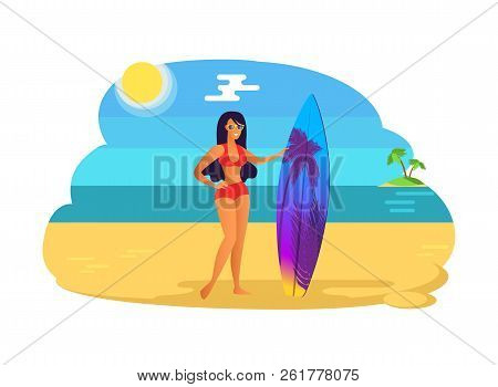 Suntanned Girl In Red Swimsuit With Surfboard. Woman Wears Stylish Sunglasses And Bright Swimwear, B