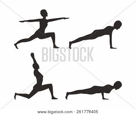 Yoga Poses Black Silhouettes Set, Sport Position Collection, Colorless Image With Woman, Push Ups An