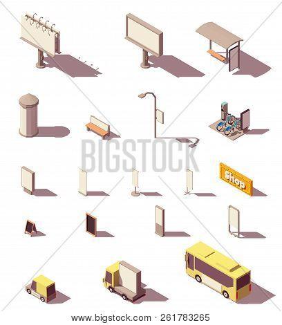 Vector Isometric Outdoor Advertising Media Set Includes Frontlight Billboard, Backlight Billboard, C