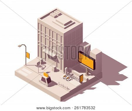 Vector isometric low poly outdoor advertising media types and placement locations illustration representing street advert - billboard, taxi, bike sharing system advertising citylight, lamp post banner poster