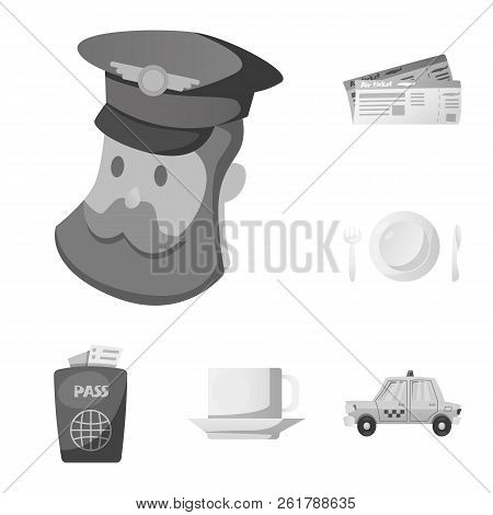 Vector Design Of Airport And Airplane Symbol. Set Of Airport And Plane Stock Vector Illustration.