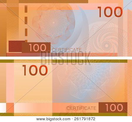Voucher Template Banknote 100 With Guilloche Pattern Watermarks And Border. Orange Background Bankno