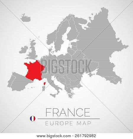 Map Of European Union With The Identication Of France. Map Of France. Political Map Of Europe In Gra
