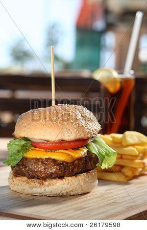 gourmet cheeseburger served