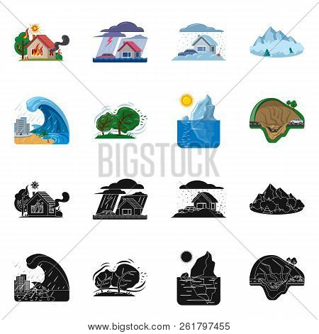 Vector Design Of Natural And Disaster Icon. Set Of Natural And Risk Stock Vector Illustration.