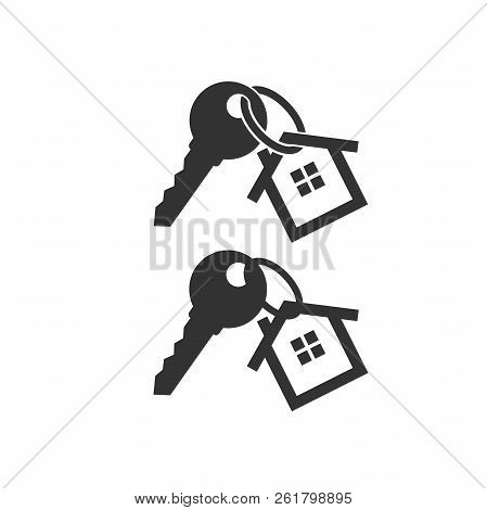 Key With Key Chain Ring And A House Pendant. Real Estate Concept Icon. New Home Logo Design. House K