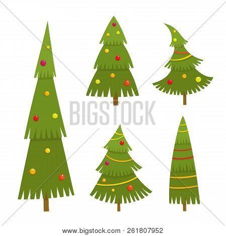 Set Of Christmas Tree In Cartoon Style.