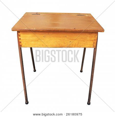 Antique Wooden School Desk isolated with clipping path