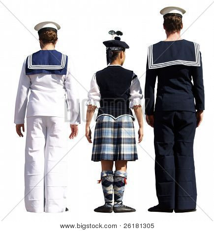 Three highland dancers facing the judge
