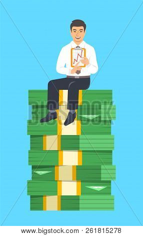 Asian Businessman Sitting On A Top Of Stack Of Paper Money And Showing A Graph Of Income Growth. Fin