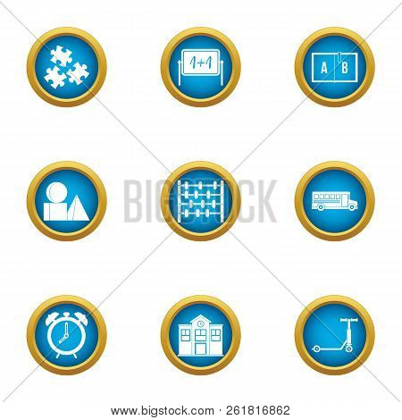 Mathematician icons set. Flat set of 9 mathematician vector icons for web isolated on white background poster