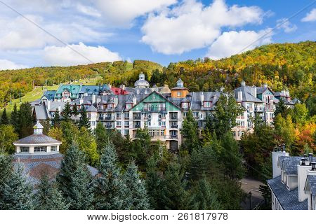 Mont-Tremblant village general view of condos and mountain in fall poster