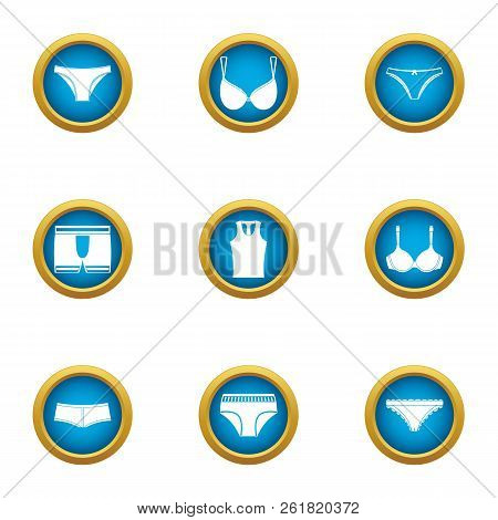 Underpants Icons Set. Flat Set Of 9 Underpants Vector Icons For Web Isolated On White Background