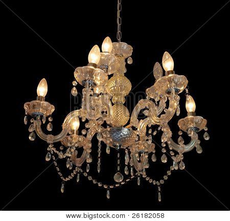 Ornate chandelier isolated with clipping path