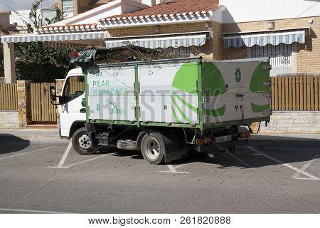 Pila De La Horadada Spain - 05 Oct 2018 : Local Refuse Lorry In Streets
