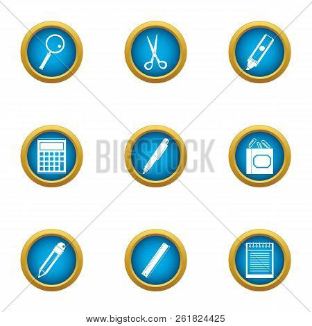 Office Plankton Icons Set. Flat Set Of 9 Office Plankton Vector Icons For Web Isolated On White Back