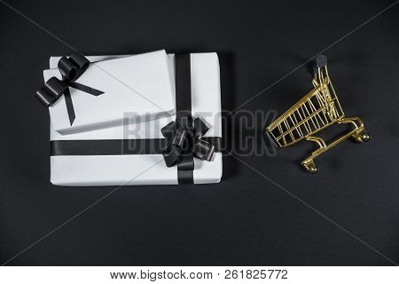 Black And White Gift Box To Shop Cart For Special Day, Buy Present, Sell Present, Valentine Gift, Ch