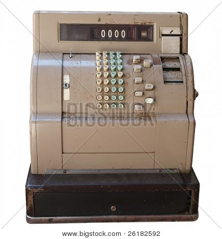 Old Cash Register isolated with clipping path