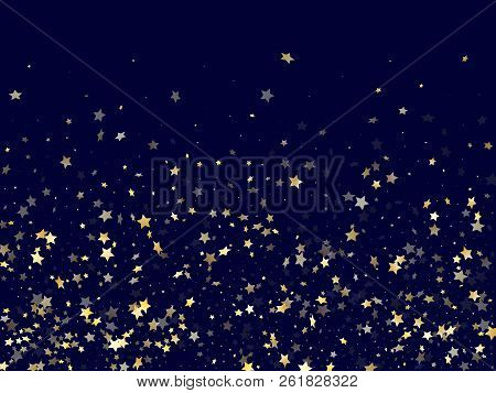 Gold Gradient Star Dust Sparkle Vector Background. Astral Gold Star Sparkles Dust Elements On Dark B