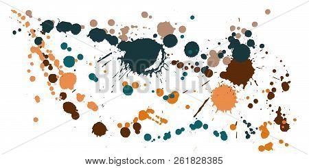 Graffiti Spray Stains Grunge Background Vector. Rusty Ink Splatter, Spray Blots, Dirt Spot Elements,