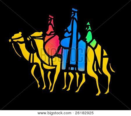 Stylized Wise Men  isolated with clipping path