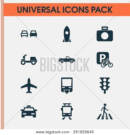 Transportation Icons Set With No Overtaking, Tram, Control And Other Streetcar Elements. Isolated Ve