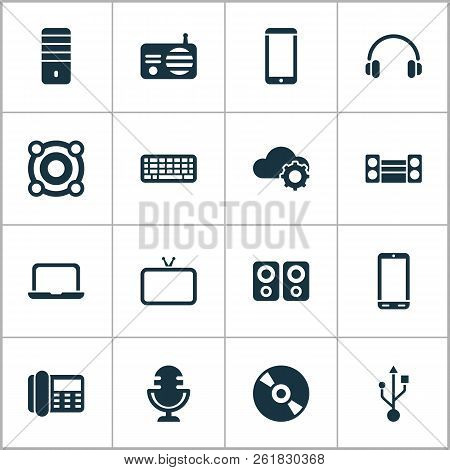 Electronics Icons Set With Sound System, Radio, Cloudtech And Other Smartphone Elements. Isolated Ve
