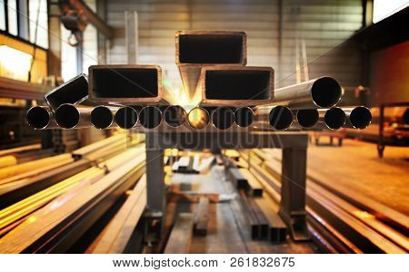 Pipes Square Metal. Round Metal Pipe. Production Of Metal Pipes