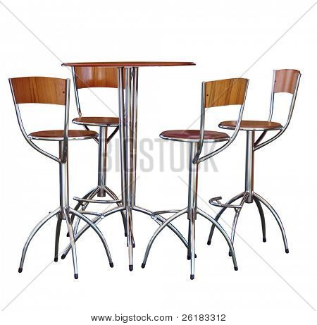 Four Tall Bar Stools at a Table isolated with clipping path