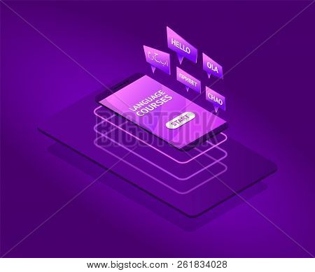 Modern Future Isometric Language Courses With Flying Smartphone. Neon Colors.speak Bobble In Foreign