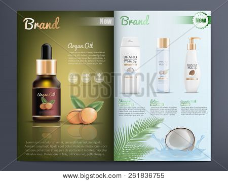 Natural Organic Cosmetics Products For Skin Care Promotion Catalog Realistic Vector Template With Br