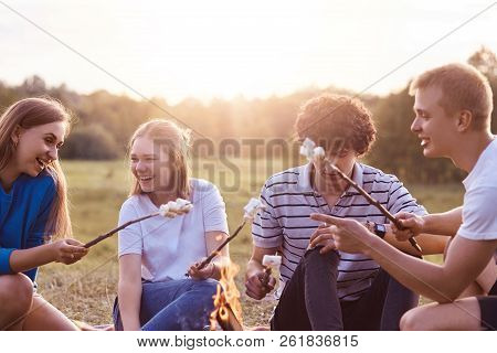 Photo Of Friendly Company Of Friends Have Picnic Outdoor, Roast Marshmallows Over Campfire, Have Pos
