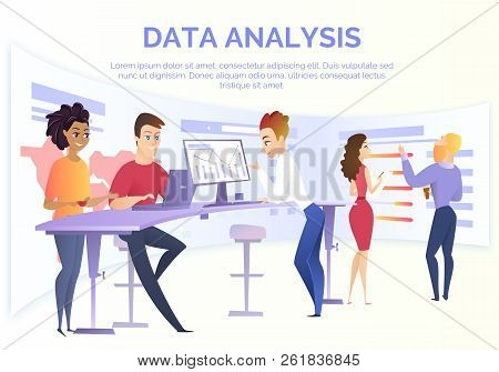 Business Data Analysis Cartoon Vector Concept With Group Of Data Analysis Specialists, Financial Ana