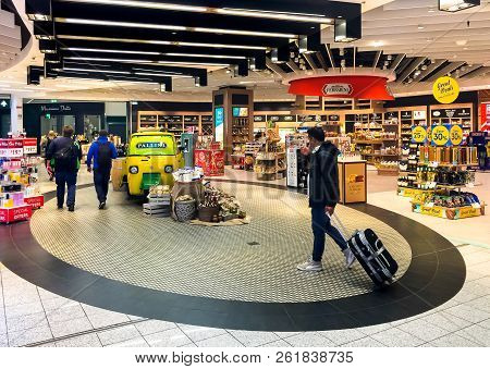 Ferno, Milan-malpensa, Italy - September 26, 2018: Duty Free Shop, Where Passengers Make Purchases B