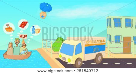 Refugee Crisis Horizontal Banner Concept. Cartoon Illustration Of Refugee Crisis Horizontal Banner F