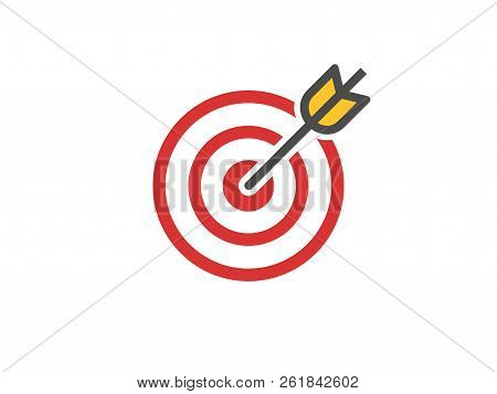 Red Aim Icon. Target And Arrow Concept. Perfect Hit Composition. Cross Aim Sign. Success Logo. Absol