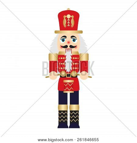 Vector Illustration Christmas Nutcracker Toy Soldier Traditional Figurine Isolated On White Backgrou