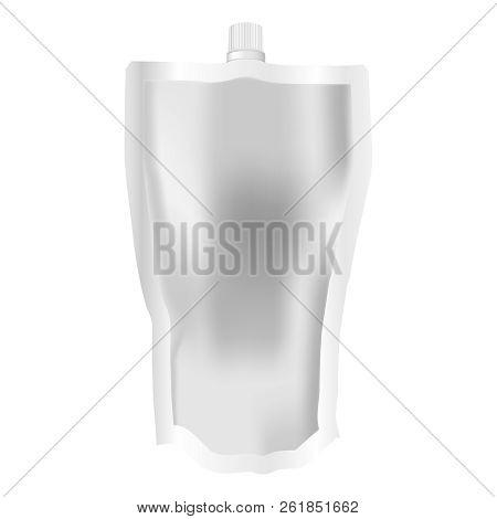 Soft Spout Pouch Shampoo Bottle Package With Cup. Realistic 3d Spout Pouch Eps10 Illustration. Sache