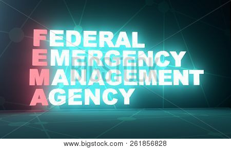 Acronym Fema - Federal Emergency Management Agency. 3d Rendering. Usa Administrative Concept Illustr