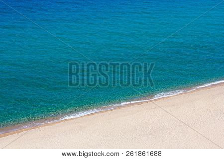 Summer And Travel Background - Beautiful Aerial View Of Sandy Beach And Blue Sea