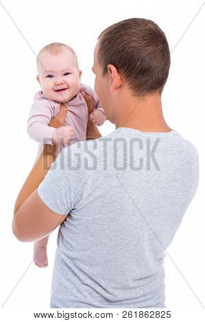 Portrait Of Young Father Holding Baby Girl Isolated On White Background