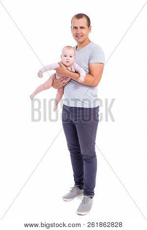 Full Length Portrait Of Young Father Holding Baby Girl Isolated On White Background