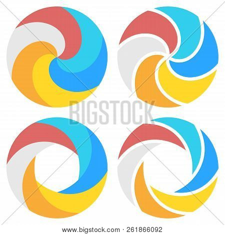 Set Of Spiral Elements Template For Round Infographics. Vector Illustration.